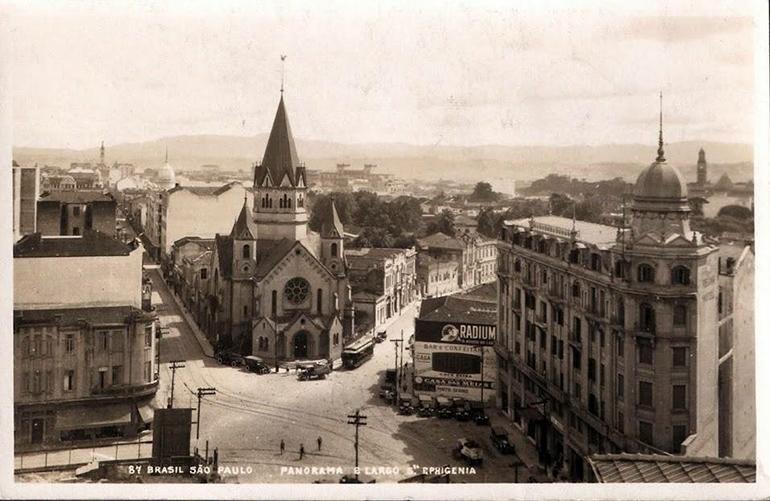 Igreja de Santa Ifigênia na década de 1920. Foto: São Paulo Antiga.