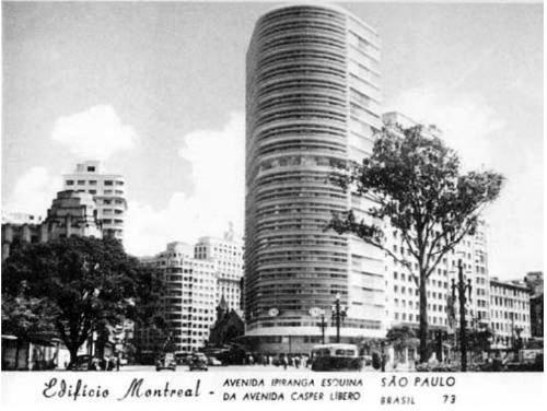 Postal da década de 50, com o Edifício Montreal em destaque.