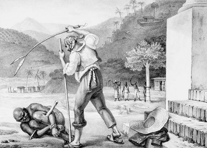 Na gravura de Debret, feitor pune escravo.