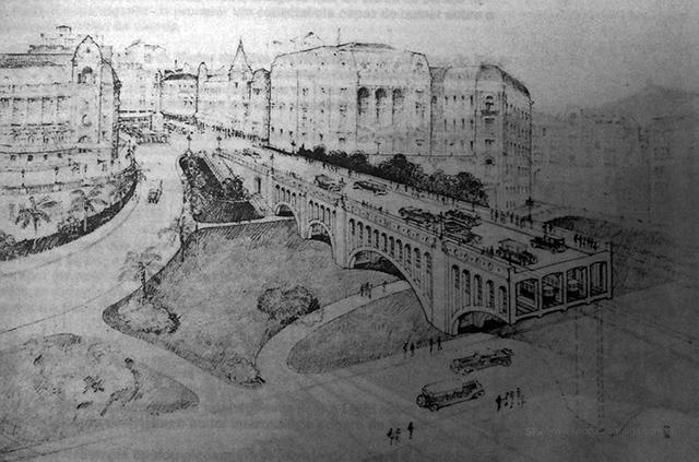 Na ilustração, bondes passam por baixo do Viaduto do Chá (clique para ampliar).