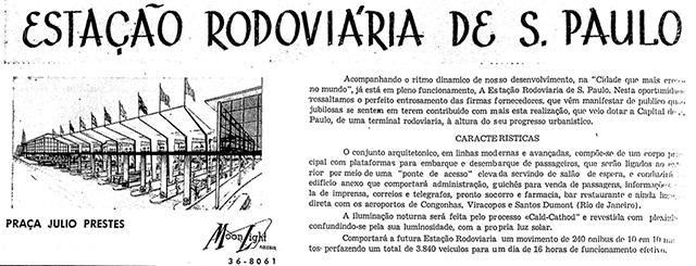 Anúncio da rodoviária em 1961