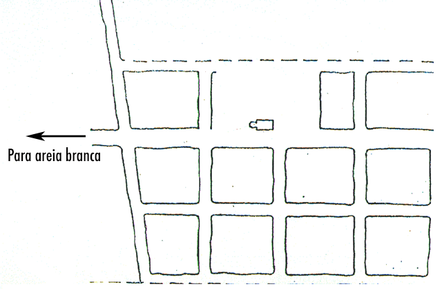 Um mapa rudimentar de Entre Montes no início do século 20.