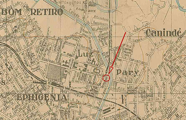 Rua João Teodoro em 1924 - O mapa mostra o local exato das casas deste artigo