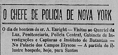 Visita do chefe de polícia de Nova York em 1924