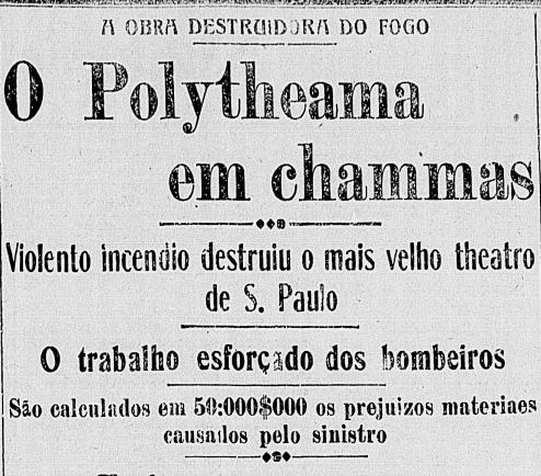 Correio Paulistano em 28/12/1914 aborda o incêndio ocorrido na véspera
