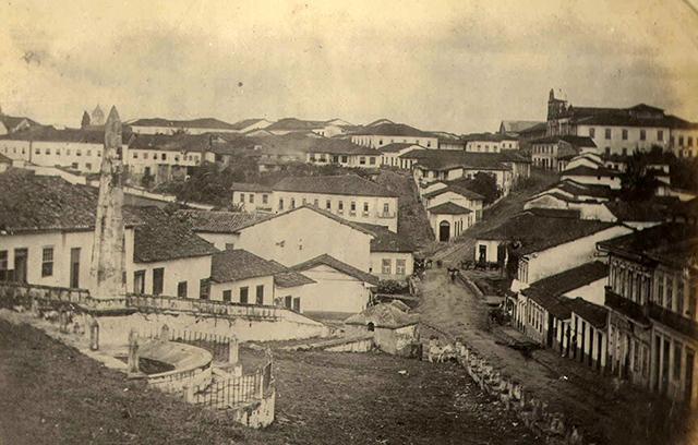 São Paulo em 1860, o largo está em primeiro plano (clique para ampliar)