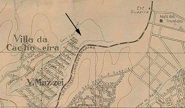 No mapa de 1924, a seta indica o local aproximado da atual rua Calandra (clique para ampliar).