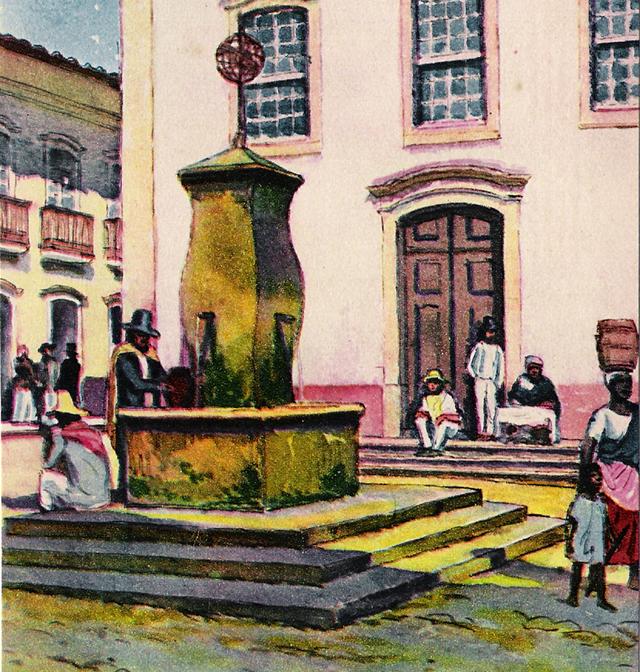 Na ilustração, coleta de água em chafariz em São Paulo, século 19