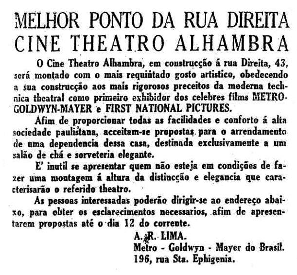 Nota de inauguração do Cine Alhambra em 1928