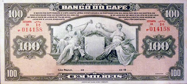 Letra hipotecária de 100 mil réis do Banco do Café (clique para ampliar)