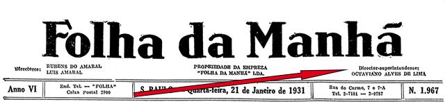 Primeira edição da Folha nas mãos de Octaviano Alves de Lima em 21/01/1931