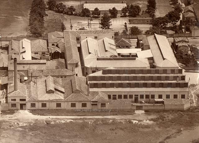 Vista aérea da fabrica nos anos 50