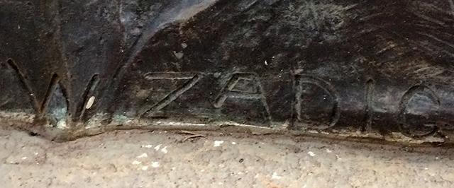 """Assinatura de William Zadig na obra """"Caçador de Esmeraldas"""""""