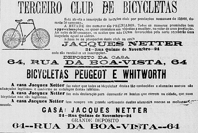 Anúncio de bicicletas à venda em jornal de 1898