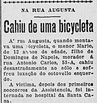 Nota de jornal em 1930