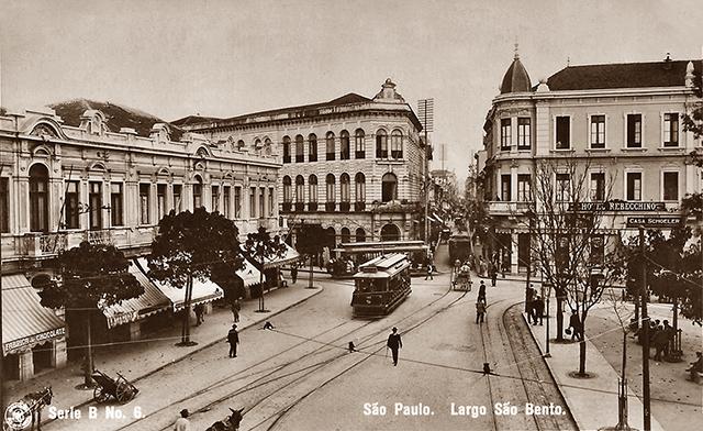 Largo São Bento em 1908 (clique na foto para ampliar)