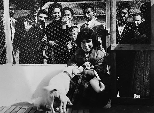 Visitantes no canil da UIPA em 1955 (clique na foto para ampliar)