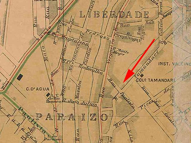 Neste mapa de 1905 é possível observar tanto a rua como a avenida Paulista.