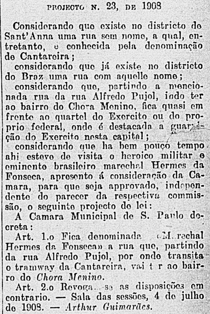 Fonte: Correio Paulistano - Edição 16128 página 3, ano 1908