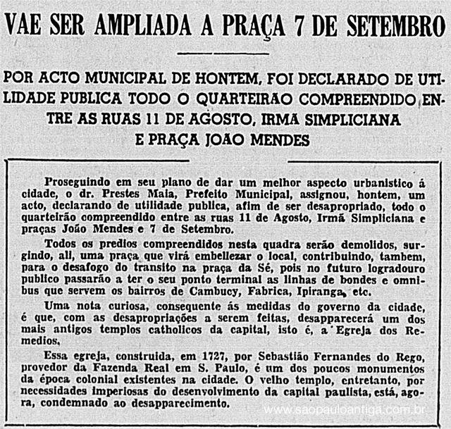 Publicado no jornal Correio Paulistano em 26/02/1938