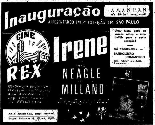 Anúncio do primeiro filme exibido no Cine Rex em 1940.