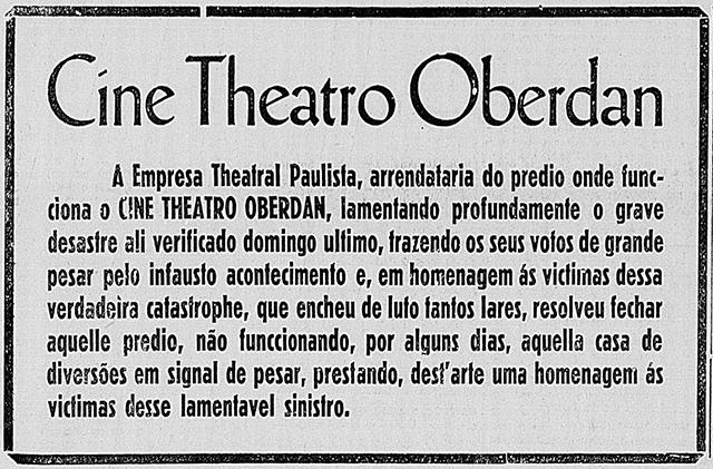 Anúncio em jornal anuncia paralisação das atividades do Oberdan.