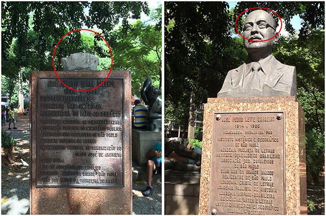 Na esquerda um monumento arrancado, no lado direito, sem os óculos (clique para ampliar)