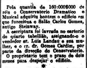 Nota sobre a aquisição em 1909