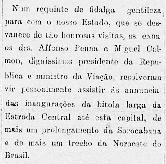 Recorte do jornal Correio Paulista de 13/02/1908