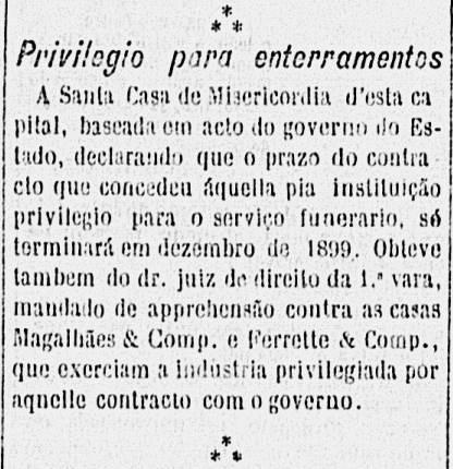 Nota em jornal 1897