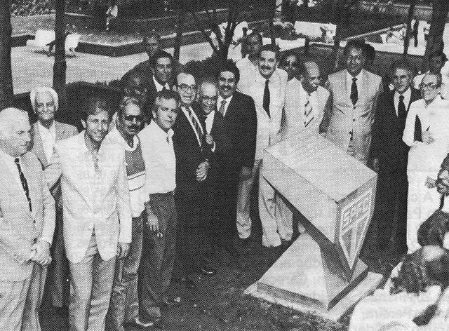 Dirigentes do SPFC e da prefeitura na inauguração em 16/12/1985