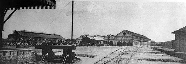 Vista geral das oficinas da São Paulo Railway