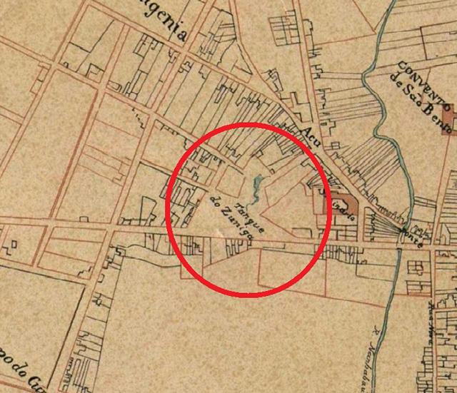 Fração do mapa de São Paulo de 1847